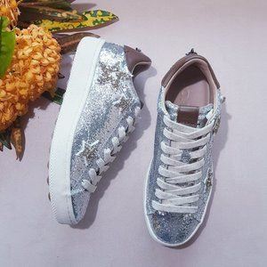 COACH STAR EMBELLISHED GLITTER & LEATHER SNEAKERS